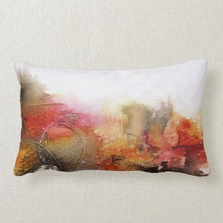 Red Brown Orange White Modern Abstract Art Lumbar Pillow