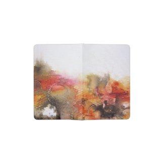 Red Brown Orange White Modern Abstract Art Pocket Moleskine Notebook