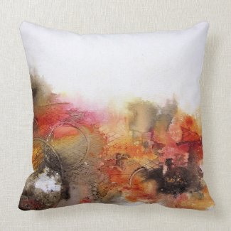 Red Brown Orange White Modern Abstract Art Throw Pillow