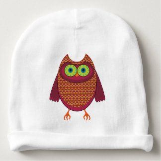 Red Brown Owl Baby Beanie