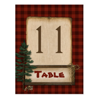 Red Brown Plaid Camping Table Number Post Card