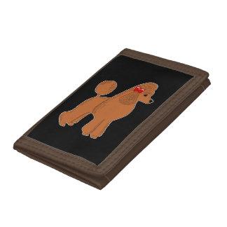 Red Brown Poodle Black Wallet