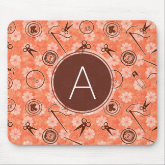 Red Brown Sewing Pattern with Monogram Mouse Pad