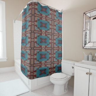 Red Brown Teal Blue Green Eclectic Ethnic Look Shower Curtain
