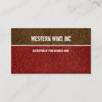 Red, Brown Tooled Leather Business Card