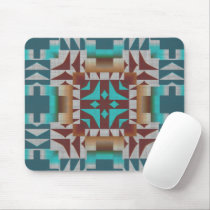 Red Brown Turquoise Teal Tribal Mosaic Art Pattern Mouse Pad