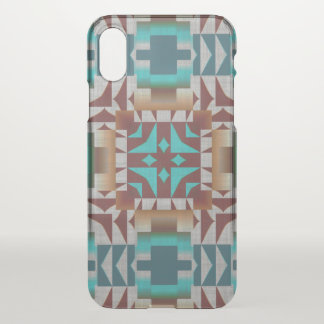 Red Brown Turquoise Teal Tribal Mosaic Pattern iPhone X Case