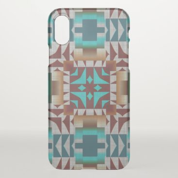 CaseConceptCreations Red Brown Turquoise Teal Tribal Mosaic Pattern iPhone X Case