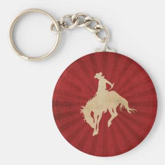 Red Brown Vintage Cowboy Basic Round Button Keychain