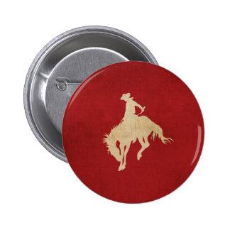 Red Brown Vintage Cowboy 2 Inch Round Button