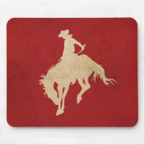 Red Brown Vintage Cowboy Mouse Pad