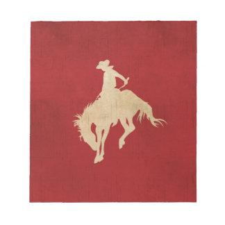 Red Brown Vintage Cowboy Notepad
