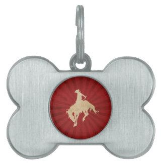Red Brown Vintage Cowboy Pet Name Tag