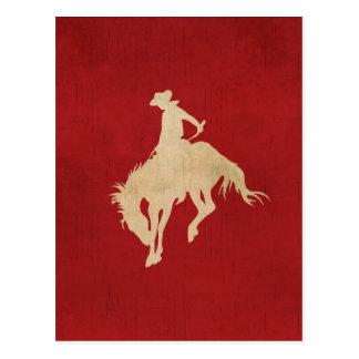 Red Brown Vintage Cowboy Postcard