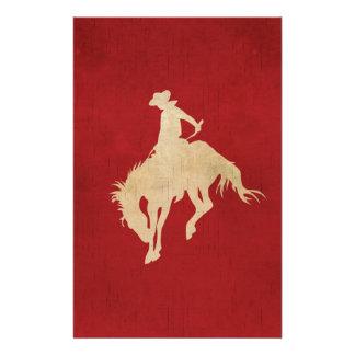 Red Brown Vintage Cowboy Stationery