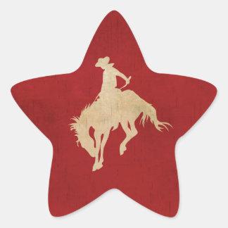 Red Brown Vintage Cowboy Star Sticker