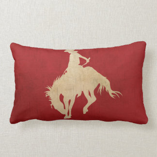 Red Brown Vintage Cowboy Throw Pillow