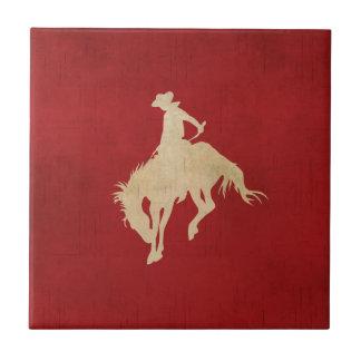 Red Brown Vintage Cowboy Tile