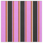 [ Thumbnail: Red, Brown, Violet, Black & White Colored Stripes Fabric ]