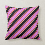 [ Thumbnail: Red, Brown, Violet, Black & White Colored Stripes Throw Pillow ]