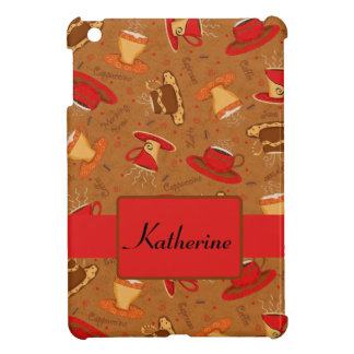 Red Brown Whimsy Coffee Cups Pattern Name iPad Mini Cover