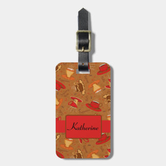 Red Brown Whimsy Coffee Cups Pattern Name Luggage Tags