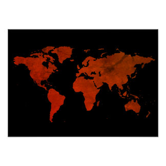 Red world map posters zazzle red brown world map poster gumiabroncs Gallery