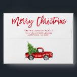 """Red Brush Script Christmas Vintage Truck Envelope<br><div class=""""desc"""">Brush Script Merry Christmas Vintage Red Truck with Christmas Tree Envelope</div>"""