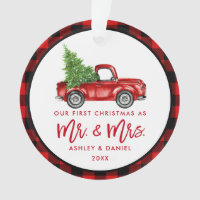 Red Brush Script Truck First Christmas Plaid Ornament