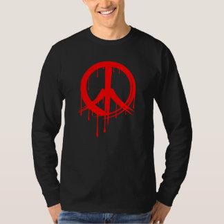 Red Brush Stroke Peace Symbol Shirt