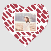 Red Brush Strokes with Photo and Name Heart Sticker