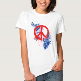 Red Brushed Peace Symbol Blue Paint splatter T-shirt