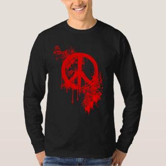 Red Brushed Peace Symbol/ Paint splatter T-Shirt