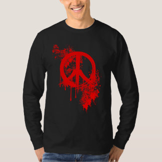 Red Brushed Peace Symbol/ Paint splatter Tee Shirt