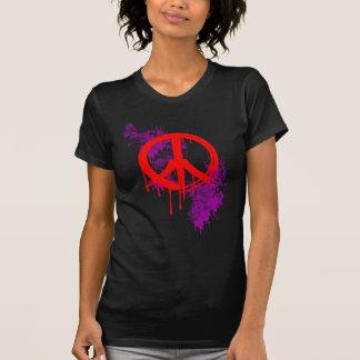 Red Brushed Peace Symbol Purple Paint splatter Tee Shirt