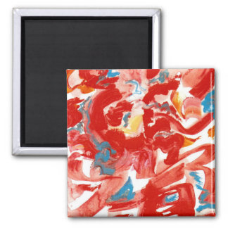 Red Brushstrokes - Modern Art Handpainted Magnet