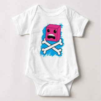red bubble angry toothed creature on crossbones ! baby bodysuit