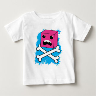 red bubble angry toothed creature on crossbones ! baby T-Shirt