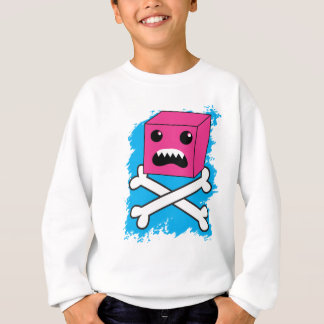 red bubble angry toothed creature on crossbones ! sweatshirt