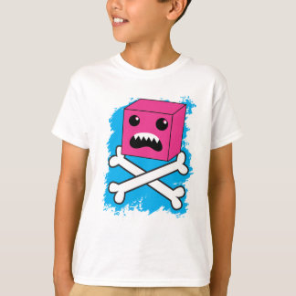 red bubble angry toothed creature on crossbones ! T-Shirt