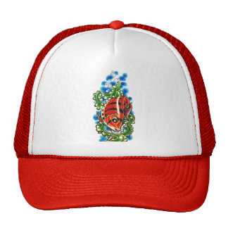 red bubblefish cap trucker hats