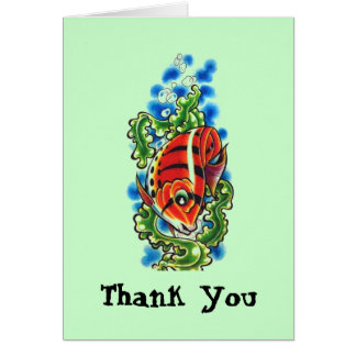 red bubblefish Thank You Note Greeting Card