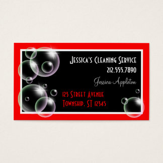 Red Bubbles Cleaning Service Business Cards
