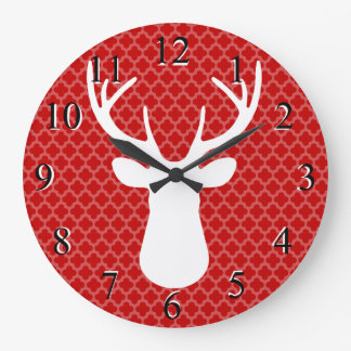 Red Buck Deer Head Silhouette Wall Clock