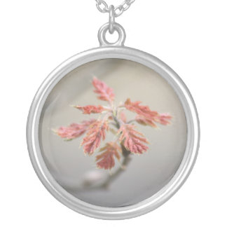 Red Bud Round Pendant Necklace