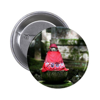 Red Buddha / Jizo in Forest Button