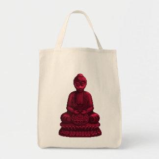 Red Buddha Pixel Art Grocery Tote Bag