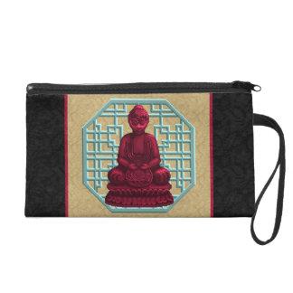 Red Buddha Pixel Art Wristlet Purses