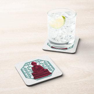 Red Buddha Pixel Art Beverage Coaster