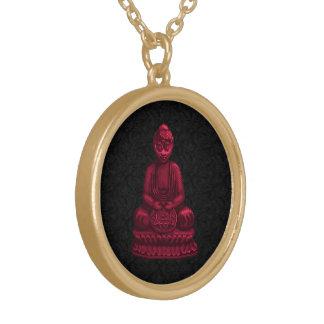 Red Buddha Pixel Art Round Pendant Necklace